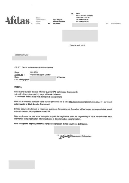 Confirmation CPF