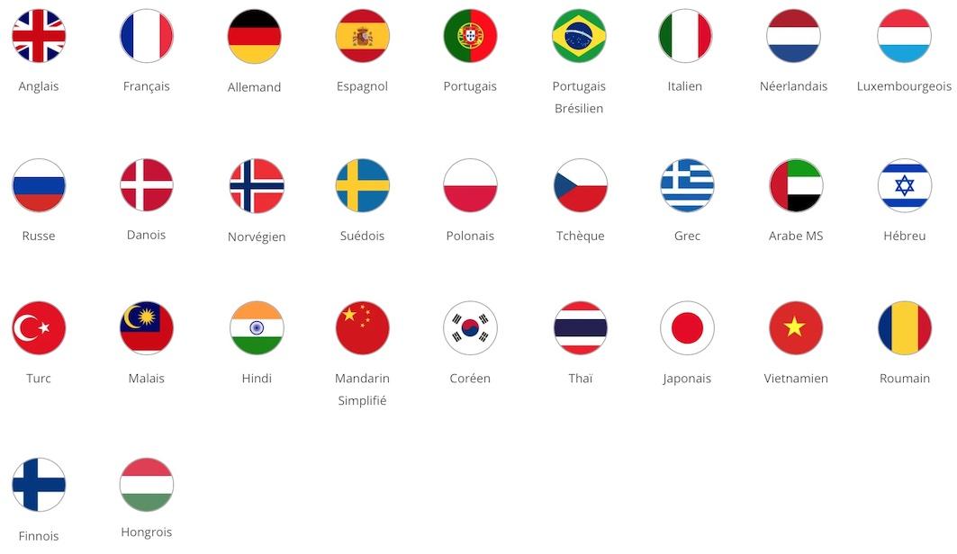 Pipplet langues testées