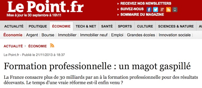 Magazine Le Point: Article sur la Formation Professionnelle Continue